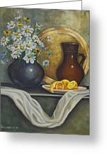 Daisy Stillife With Oranges Greeting Card