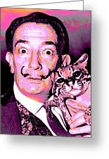 Dali With Ocelot And Cane Greeting Card