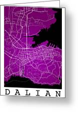 Dalian Street Map - Dalian China Road Map Art On A Purple Backgro Greeting Card