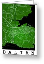 Dalian Street Map - Dalian China Road Map Art On Green Backgro Greeting Card