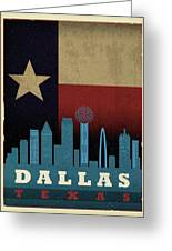Dallas City Skyline State Flag Of Texas Art Poster Series 020 Greeting Card