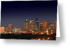 Dallas Skyline At Dusk Big Moon Night  Greeting Card