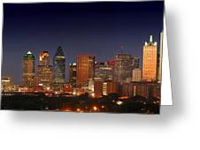 Dallas Skyline At Dusk  Greeting Card