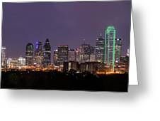 Dallas Skyline At Night Pano Greeting Card