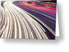 Dallas Skyline With Light Trails Greeting Card by Gregory Ballos