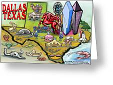 Dallas Texas Cartoon Map Greeting Card