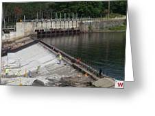 Dam Repairs  Along The Androscoggin River Greeting Card