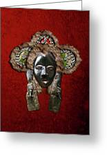 Dan Dean-gle Mask Of The Ivory Coast And Liberia On Red Velvet Greeting Card by Serge Averbukh