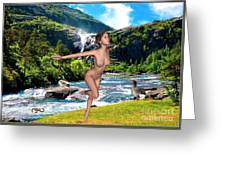 Dance To The Waterfall Greeting Card