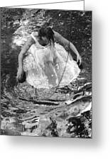 Dancer In White Dress In Shallow Water Greeting Card