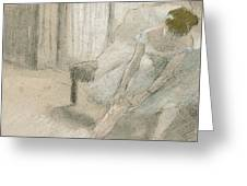 Dancer Seated, Readjusting Her Stocking Greeting Card