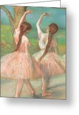Dancers In Pink Greeting Card by Edgar Degas