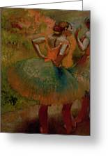 Dancers Wearing Green Skirts Greeting Card