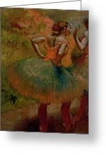 Dancers Wearing Green Skirts Greeting Card by Edgar Degas