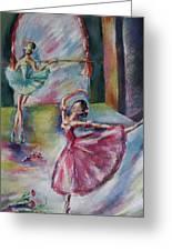 Dancing Ballerinas Greeting Card by Khatuna Buzzell