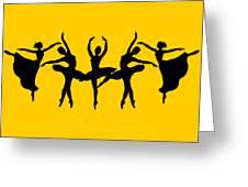 Dancing Ballerinas Silhouette Greeting Card