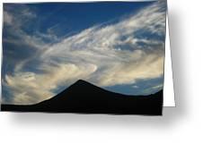 Dancing Clouds Above Volcanic Peak Greeting Card