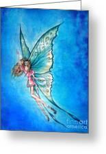 Dancing Fairy In Blue Sky Greeting Card