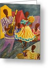 Dancing N Jammin In The Street  Abstract  Greeting Card