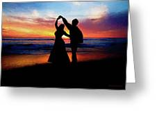 Dancing On The Beach - Painting Greeting Card