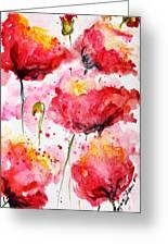 Dancing Poppies Galore Watercolor Greeting Card