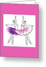 Dancing Tutus In Purple And Pink Greeting Card