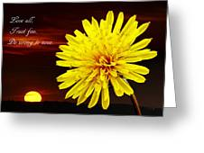 Dandelion Against Sunset With Inspirational Text Greeting Card