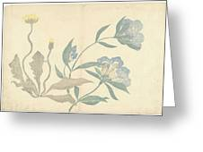 Dandelions And Blue Flowers, Nakamura Hochu, 1826 Greeting Card