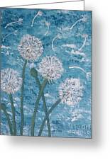 Dandelions Blowing In The Wind Greeting Card