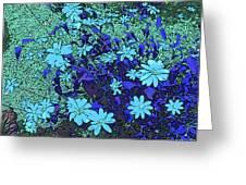 Dandy Digital Daisies In Blue Greeting Card