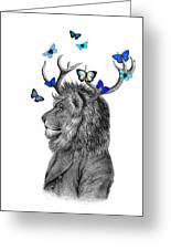 Dandy Lion With Antlers And Blue Butterflies Greeting Card