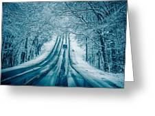 Dangerous Slippery And Icy Road Conditions Greeting Card
