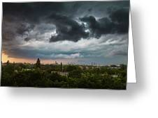 Dangerous Stormy Clouds Over Warsaw Greeting Card