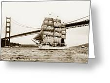 Danmark Sailing Under The Golden Gate Bridge San Francisco Greeting Card