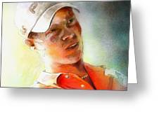 Danny Willett In The Madrid Masters Greeting Card