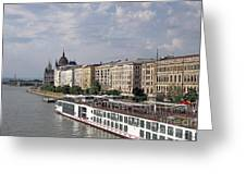 Danube Riverside With Old Buildings Budapest Hungary Greeting Card