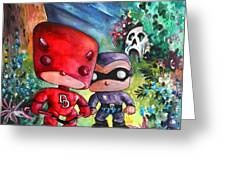 Funkos Daredevil And The Phantom In The Jungle Greeting Card