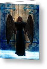 Dark Angel At Church Doors Greeting Card