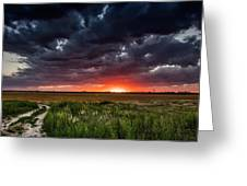 Dark Clouds At Sunset Greeting Card