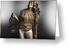 Dark Fashion Style With Fashionable Bag Accessory Greeting Card