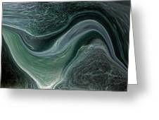 Dark Green Flow Greeting Card