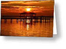 0209 Dark Orange Sunrise On Sound Greeting Card