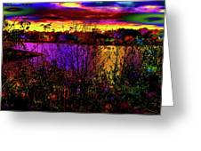 Dark Psychedelic Sunset Greeting Card