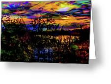 Dark Shadowy Sunset Greeting Card