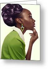 Dark Skinned Woman In Updo With Big Curls Greeting Card