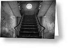Dark Stairs To Attic - Urban Exploration Greeting Card
