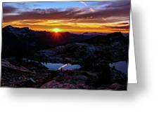 Dark Sunset Over The Cascades Greeting Card