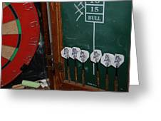 Darts And Board Greeting Card
