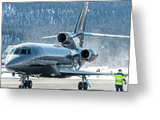 Dassault Falcon 900 Parking With Marshaller Greeting Card