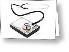 Data Recovery Stethoscope And Hard Drive Disc Greeting Card